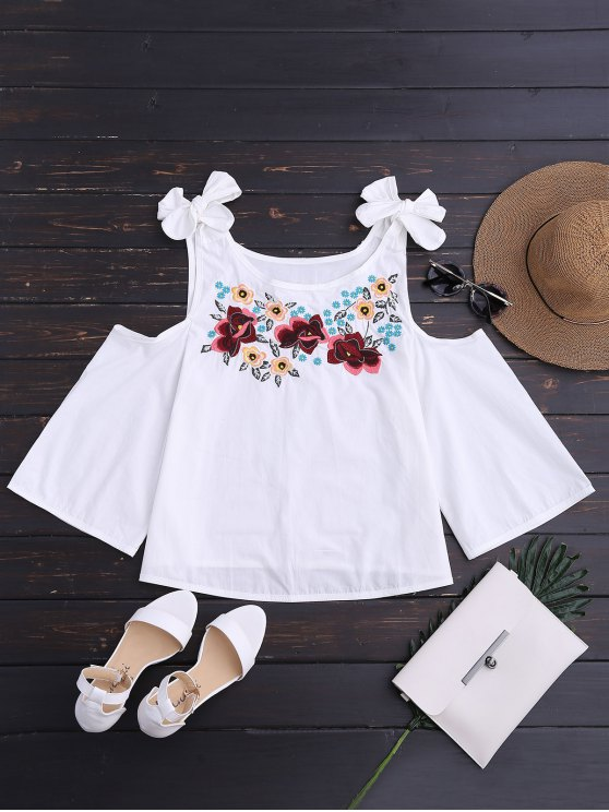 womens Floral Embroidered Cutout Tie Shoulder Top - WHITE L