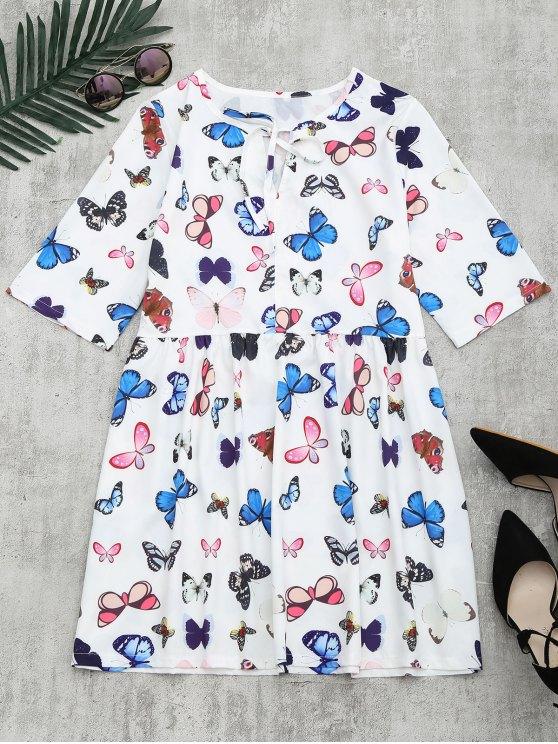 chic Butterfly Print Bowtie Dress - WHITE XL