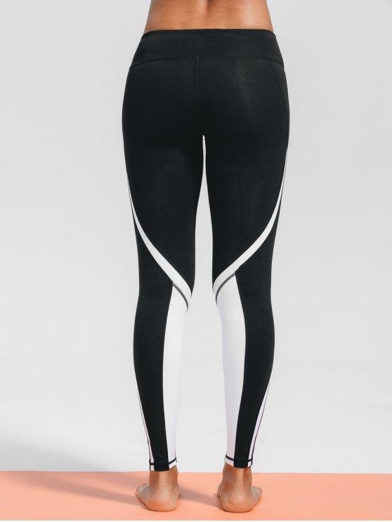 Leggings sportifs à deux tons extensibles - Noir M