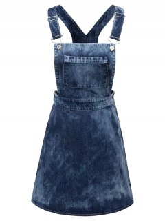 Robe Tablier En Denim Tie Dye - Denim Bleu M