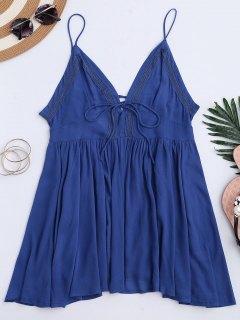 Robe à Fines Bretelles Lacée Au Dos Col Plongeant  - Bleu L