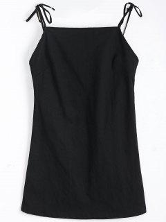 Tied Straps Backless Mini Dress - Black M