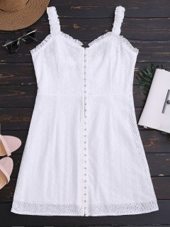 Sweetheart Neckline Mini Lace Dress - White L