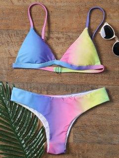 Colorful Spaghetti Strap Ombre Skimpy Bikini - 2xl