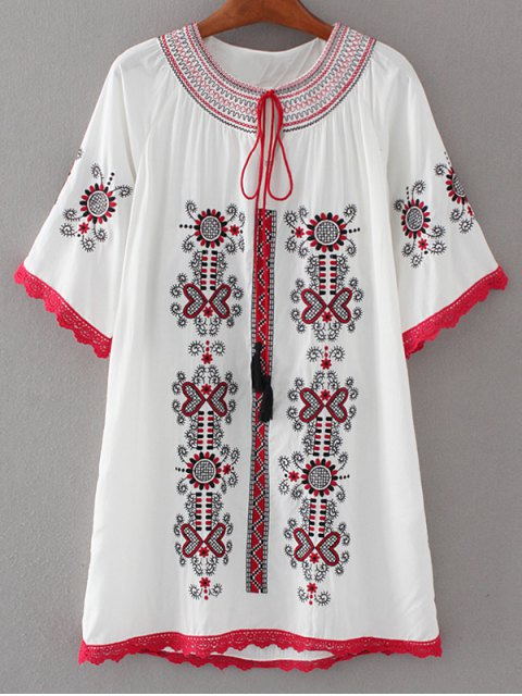 hot Crochet Panel Embroidered Tunic Dress - WHITE L Mobile