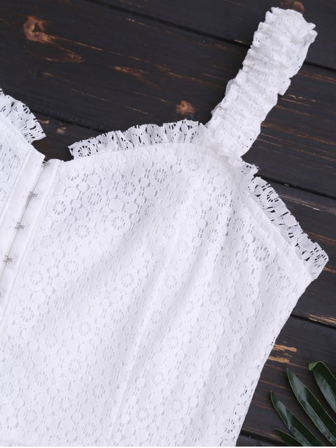 trendy Sweetheart Neckline Mini Lace Dress - WHITE M Mobile