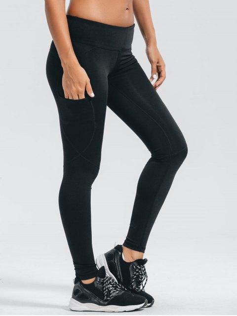 fashion Stretchy Pockets Active Leggings - BLACK M Mobile