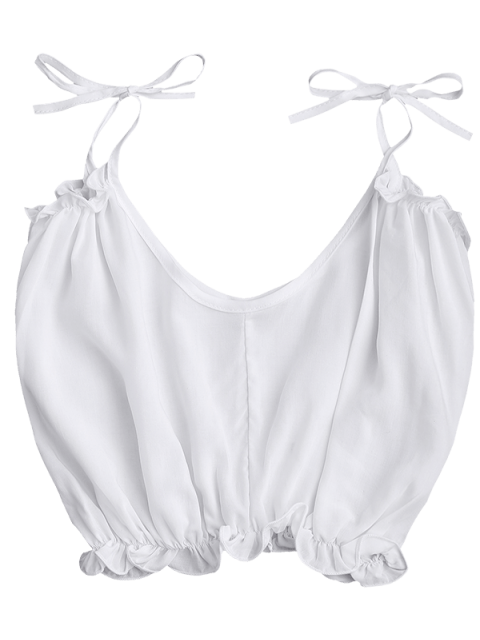 chic Cropped Ruffled Hem Tied Cami Top - WHITE S Mobile