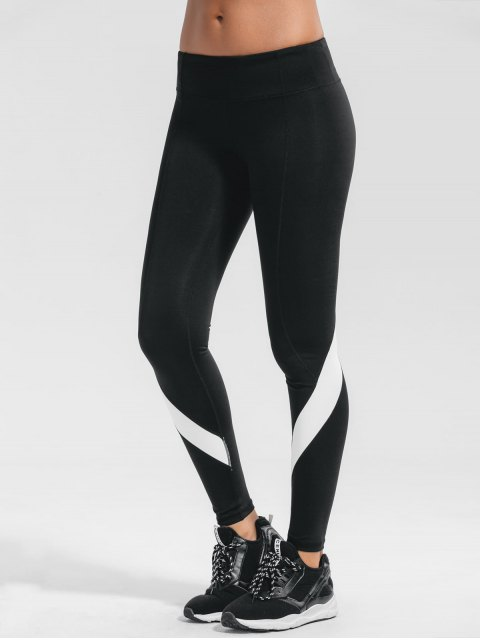 outfit Stretchy Color Block Active Yoga Pants - BLACK M Mobile