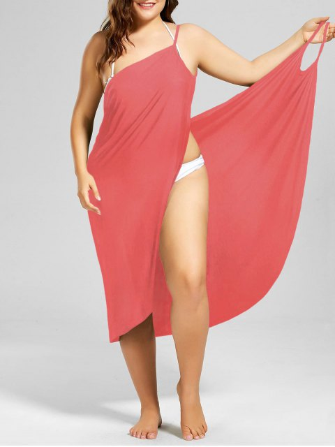 fashion Plus Size Beach Cover-up Wrap Dress - WATERMELON RED 5XL Mobile
