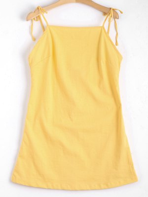 Tied Straps Backless Mini Dress - Yellow S