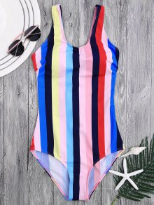 Lace Up Stripes Swimwear - L