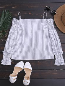 Long Sleeve Cold Shoulder Striped Top