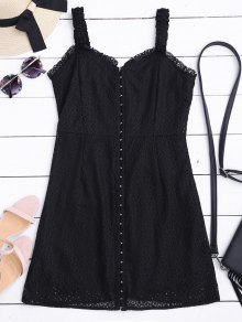 Sweetheart Neckline Mini Lace Dress - Black M