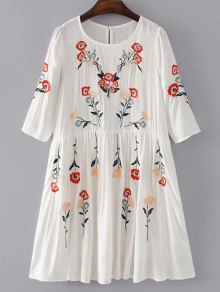 Floral Embroidered Casual Shift Dress