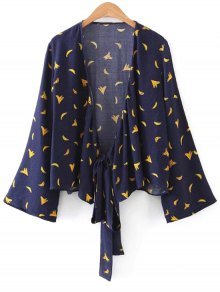 Banana Graphic Polka Dot Wrap Blouse - Purplish Blue S
