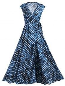 Wrap Polka Dot Maxi Cover Up Dress - Blue M