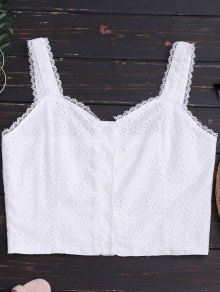 Buttoned Fitted Lace Crop Top - White M