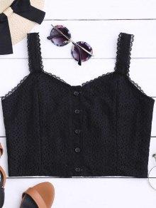 Top De Costura Con Encaje Con Botones - Negro S