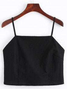 Cut Out Bowknot Cropped Tank Top - Black S