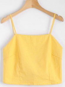 Cut Out Bowknot Cropped Tank Top - Yellow S