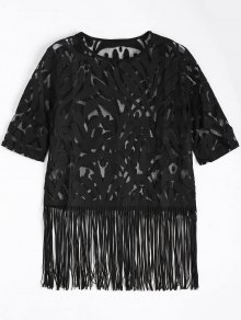 Fringe Sheer Lace Top - Black S
