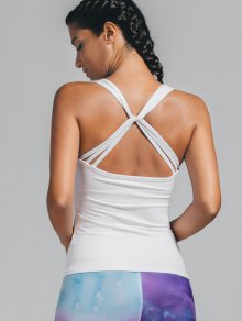 Padded Twist Back Sporty Tank Top - White M