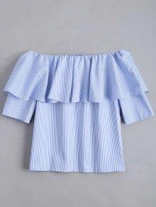 Flounce Hem Off The Shoulder Striped Blouse - Sky Blue S