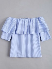 Flounce Hem Off The Shoulder Striped Blouse