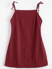 Tied Straps Backless Mini Dress - Red S