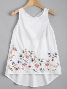 Ruffles Cut Out Embroidered Top - White M