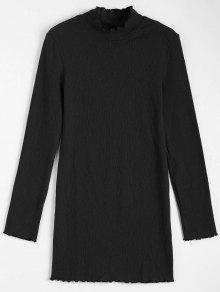 Knitted Long Sleeve Ruffles Mini Dress - Black S