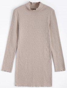 Knitted Long Sleeve Ruffles Mini Dress