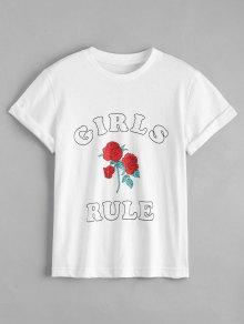 Cotton Rose Letter T-Shirt - White L
