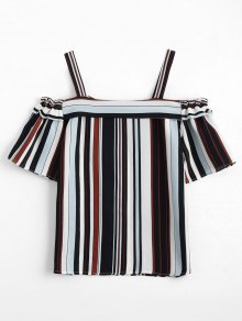 Loose Striped Cold Shoulder Top