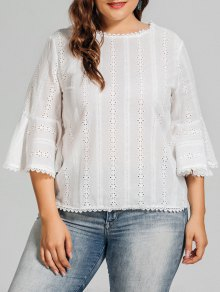 Plus Size Crochet Panel Sheer Blouse - White Xl