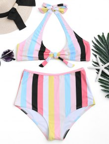 Padded Knotted Striped High Waisted Bikini - Stripe L