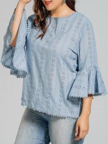 Plus Size Crochet Panel Sheer Blouse - Light Blue 3xl