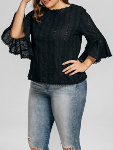 Plus Size Crochet Panel Sheer Blouse
