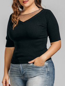 Knitting Plus Size Voile Panel Top