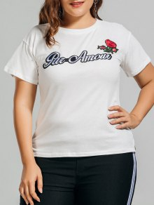 Plus Size Letter Rose Embroidered T-Shirt