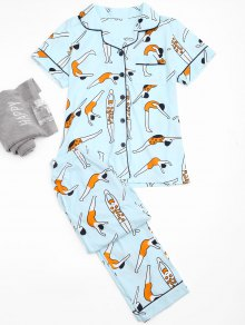 Cute Swim Posture Print Shirt with Pants Loungewear