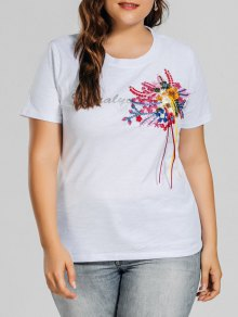 Plus Size Letter Embroidered Patched T-Shirt