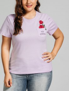 Plus Size Rose Embroidered T-Shirt With Pocket - Light Purple 2xl