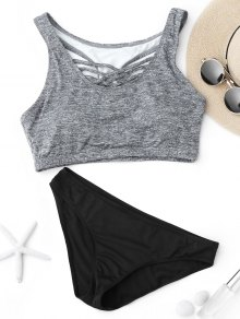 Criss Cross Racerback Crop Top Bikini Suit - Black And Grey M