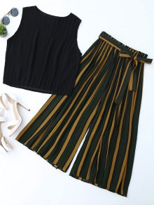 Pleated Top With Color Block Striped Gaucho Pants - Black