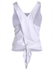 Cross Back Scoop Tied Sporty Top - White S