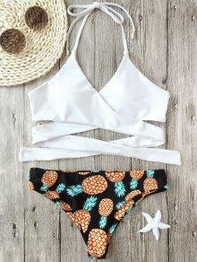 Halter Pineapple Print Wrap Bikini
