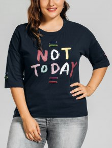 Metal Rings Plus Size Letter T-Shirt