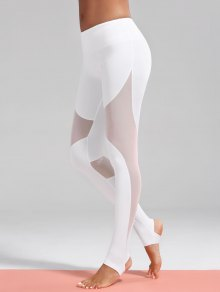 Mesh Insert Stirrup Sporty Leggings - White L